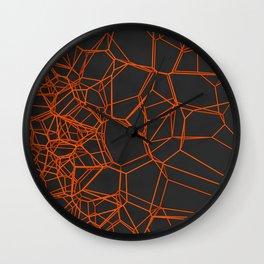 Orange voronoi lattice on black background Wall Clock