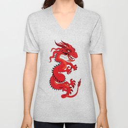 Red Dragon with Teal Unisex V-Neck