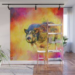 Jazzy Pig Colorful Animal Art by Jai Johnson Wall Mural