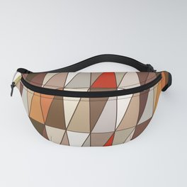 Modern Geometric Triangles, Beige, Brown, Red, Gold Fanny Pack