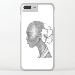 Black woman w/ white orchid Clear iPhone Case
