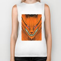 kakashi Biker Tanks featuring Kyubi Nine Tails by Inara