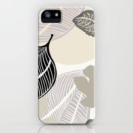 Feuilles grises et noires iPhone Case