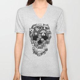 Skull from raccoons Unisex V-Neck