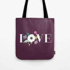 Floral Love - in Plum Tote Bag