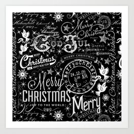 Black and White Christmas Typography Design Art Print