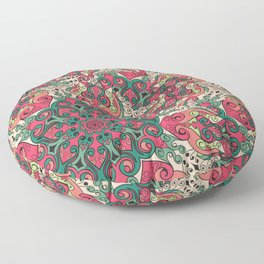 Seamless abstract colorful ornamental psychedelic decorative pattern Floor Pillow