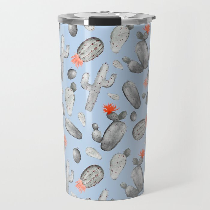 Cactus Pattern Watercolor | Cacti Peach and Gray, Orange and Blue Travel Mug