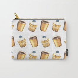 Coffee and Muffin Watercolor Pattern Carry-All Pouch