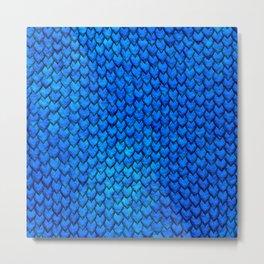 Mermaid Scales - Blue Metal Print