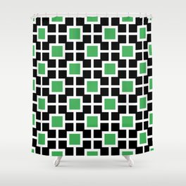 Classic Hollywood Regency Pattern 221 Black and Green Shower Curtain