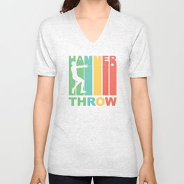 Vintage 1970's Style Hammer Throw Graphic Unisex V-Neck