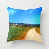 hiking Throw Pillows featuring Another lonely hiking trail by Patrick Jobst