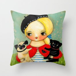 French girl with black pug and fawn pug Throw Pillow