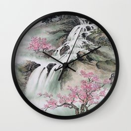 WATERFALLS AND MOUNTAIN LANDSCAPE Wall Clock