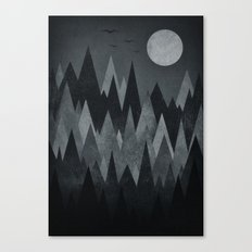 Dark Mystery Abstract Geometric Triangle Peak Wood's (black & white) Canvas Print