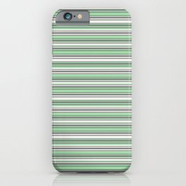 Pastel Mint Green and Gray Horizontal Line 4 on Linen White Pairs to 2020 Color of the Year Neo Mint iPhone Case