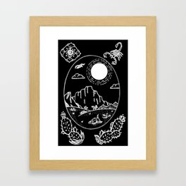 Desert Scene Illustration Invert Framed Art Print