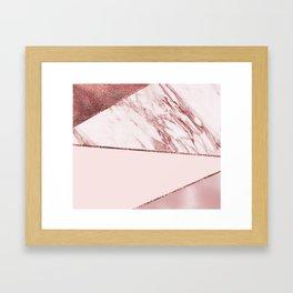 Spliced mixed pinks rose gold marble Framed Art Print