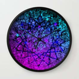 REACH FOR THE STARS Bold Midnight Blue Purple, Galactic Stars Space Abstract Fine Art Painting Wall Clock