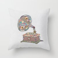 taco Throw Pillows featuring SEEING SOUND by Bianca Green
