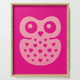 Cute Pink Baby Owl Serving Tray