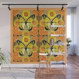 YELLOW MONARCH BUTTERFLY & ORANGES MODERN ART Wall Mural