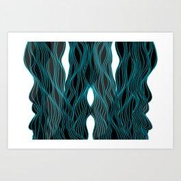 Parallel Lines No.: 03. - Blue Lines, Symmetrical Art Print