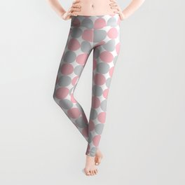 Pink and Gray Dots Pattern Leggings
