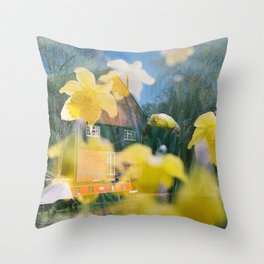 Daffodils at Home Double Exposure Throw Pillow