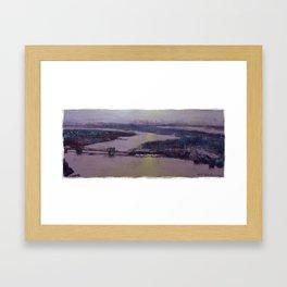 The bridge at sunset. Framed Art Print