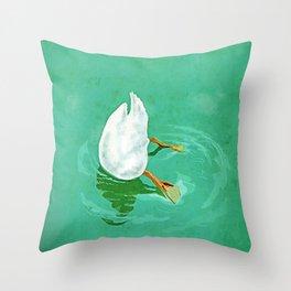 Duck diving Throw Pillow