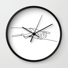 Line Holding Hands Wall Clock