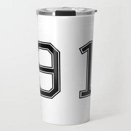 Number 91 American Football, Soccer, Sports Design Travel Mug