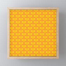 Chaotic pattern of yellow rhombuses and orange pyramids. Framed Mini Art Print