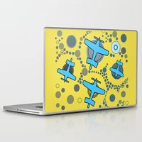 airplanes Laptop & iPad Skins featuring blue airplanes by Isabella Asratyan