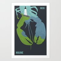 maine Art Prints featuring Maine by AtomicChild