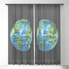 Galactic Disco Ball Planet Earth  Sheer Curtain