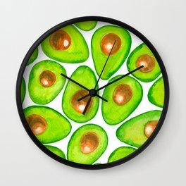 Avocado slices watercolor Wall Clock