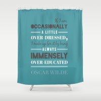 oscar wilde Shower Curtains featuring Oscar Wilde - poster by Katya Sarria