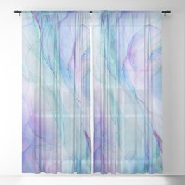 Pastel Violet Turquoise Abstract Ink Painting Sheer Curtain