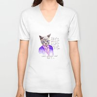 karl lagerfeld V-neck T-shirts featuring Fashion Mr. Cat Karl Lagerfeld and Chanel by Smog