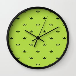 Black Crown pattern on Green background Wall Clock