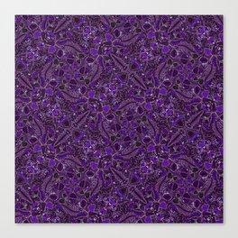 Ultraviolet Mushroom Wood, Field Ferns Leaves  in Lavender Purple Fungi Forest Painting Canvas Print