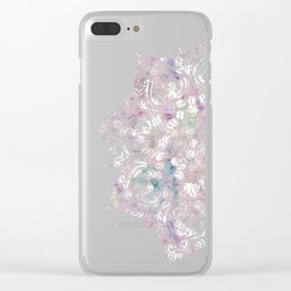 Dreaming Mandala - Magical Purple on Gray Clear iPhone Case