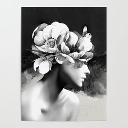 Floral Portrait-black and white Poster