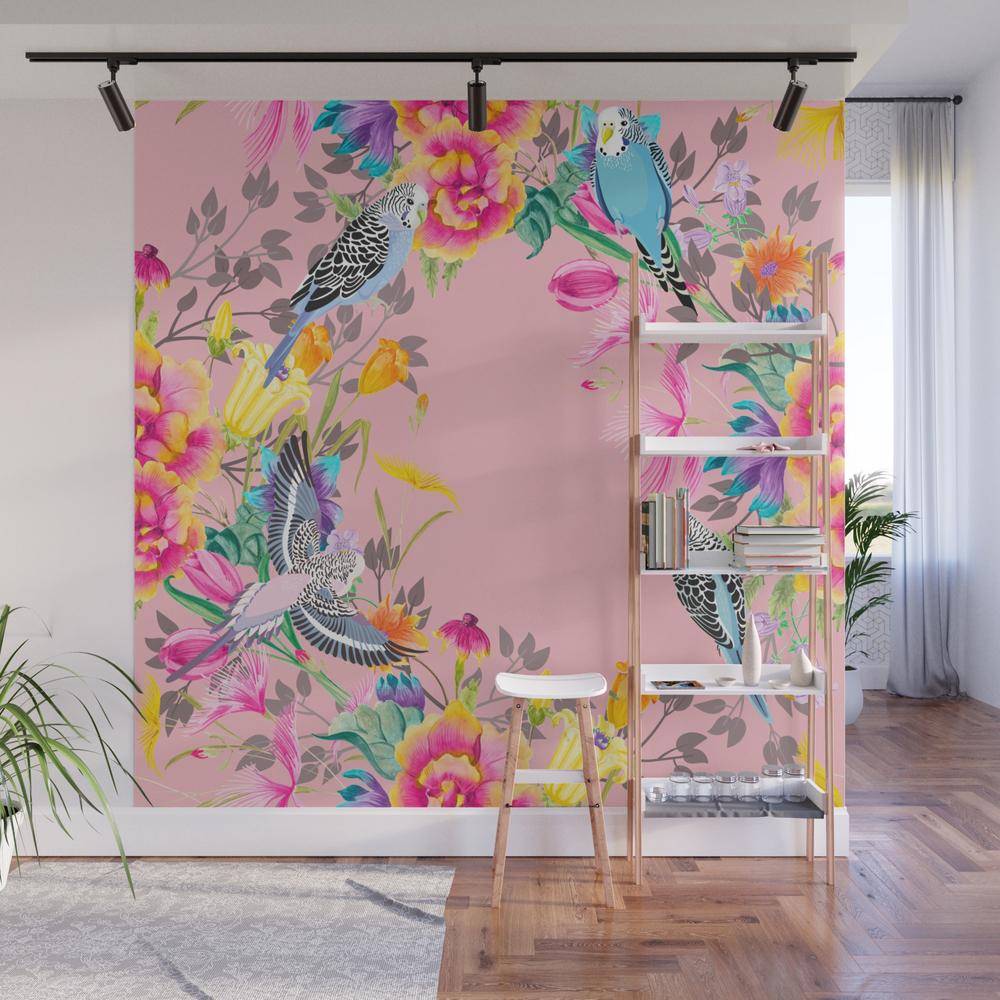 Stardust Pink Floral Birds Motif Wall Mural by Sharonmau WMP8406879