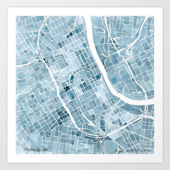 Map Nashville Tennessee Blueprint City Map Art Print