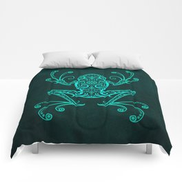 Intricate Teal Blue Tree Frog Comforters