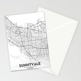 Minimal City Maps - Map Of Sunnyvale, California, United States Stationery Cards